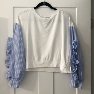 Beautiful white and blue ruffle sleeved shirt